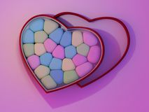 Marshmallow for Valentine Day in heart shape. 3D. Rendering Stock Photography