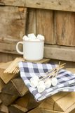 Marshmallow on wooden sticks for frying on an open fire. Rustic style, selective focus. Vertical Royalty Free Stock Photo
