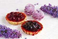 Marshmallows και καλάθια βιομηχανιών ζαχαρωδών προϊόντων με ένα κεράσι Στοκ εικόνα με δικαίωμα ελεύθερης χρήσης