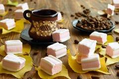 Marshmallows στα κίτρινα φύλλα Στοκ Φωτογραφία