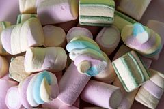 Marshmallows background with copy space royalty free stock photos