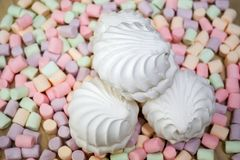 Marshmallows. Background or texture of colorful mini marshmallows royalty free stock photography