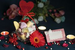Marshmallows, beautiful accessories for Valentine`s Day royalty free stock image