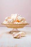 Marshmallows on beautiful glass dish Royalty Free Stock Photography