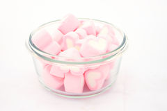 Marshmallows in bowl isolated Royalty Free Stock Photography