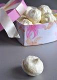 Marshmallows caseiros da baunilha da caixa imagem de stock royalty free