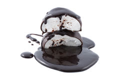 Marshmallows in chocolate syrup isolated Stock Images