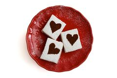 Marshmallows with Cocoa Dusted Hearts Red Plate White Background Above Stock Photo