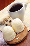 Marshmallows with coconuts. And coffee Stock Photos