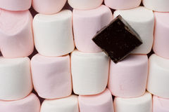 Marshmallows com fundo do chocolate da laje Imagem de Stock Royalty Free