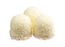 Marshmallows with desiccated coconuts. Isolated on white Stock Image