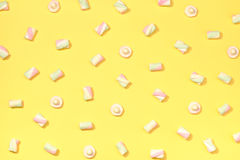 Marshmallows flat lay Stock Images