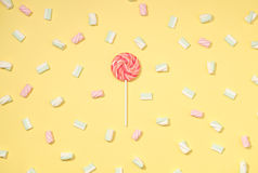 Marshmallows flat lay Royalty Free Stock Photos