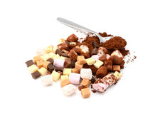 Marshmallows, fudge, caramel and cocoa powder Royalty Free Stock Image