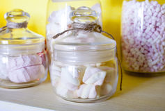 Marshmallows in the glass jar. Stock Photo