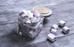 Marshmallows in a glass jar Royalty Free Stock Images