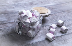 Marshmallows in a glass jar Royalty Free Stock Image