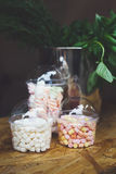 Marshmallows in glass jars on bar for sale. Desserts choice. Marshmallow chewing candies in glass jars on counter bar for sale. Traditional american sweets for Stock Images