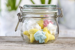 Marshmallows in glass jug Royalty Free Stock Photography