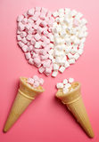 Marshmallows heart and ice-cream cones Stock Images