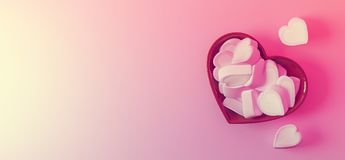 Marshmallows heart shape with space for text. Banner Stock Image