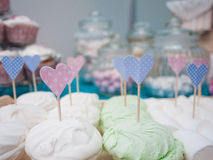 Marshmallows with hearts on a stick Royalty Free Stock Photos