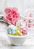 Marshmallows In White Bowl Stock Photos