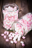 Marshmallows in a jar Stock Image