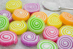 Marshmallows with jelly and sugar on spoon Stock Images