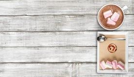Marshmallows. Cups closeup cappucino warm table milk stock photos
