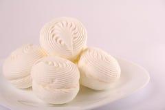 Marshmallows On Plate Stock Photo