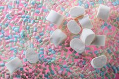 Marshmallows on pink background . Royalty Free Stock Photo