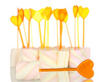Marshmallows with skewers Royalty Free Stock Photography