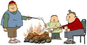 marshmallows stekande royaltyfri illustrationer