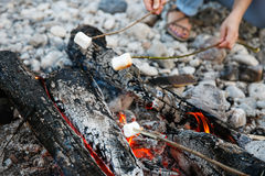 Marshmallows sticked on a twig, being toasted Royalty Free Stock Images