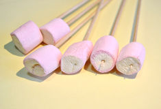 Marshmallows on sticks, closeup Royalty Free Stock Photo