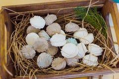 Marshmallows w łozinowym koszu Fotografia Royalty Free