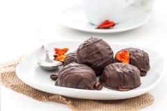 Marshmallows w czekoladzie Obrazy Royalty Free