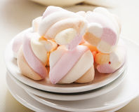 Marshmallows on white background Stock Photos
