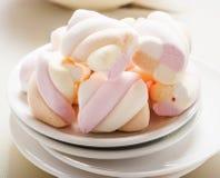 Marshmallows on white background Stock Photos