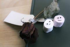 Marshmallows z uśmiechniętą twarzą na notatniku Obraz Stock
