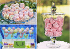Marshmellow close-up collage. Delicious sweet buffet with pink marshmallow and cake-pops. high resolution collage Royalty Free Stock Images
