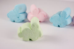 Marshmellow Easter Bunnies. Assorted Marshmellow Easter bunnies isloated on white Stock Photo
