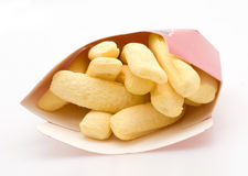 Marshmellow French Fries. Marshmellow Fires Isolated Against White Background with Container Royalty Free Stock Photos