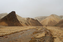 Marsian landscape: yellow and orange rocks during the sand storm Royalty Free Stock Photos