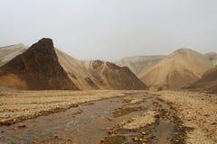 Marsian landscape: yellow and orange rocks during the sand storm. In Landmannalaugar, Iceland royalty free stock photos