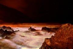 Marsian Sea. Night STORM in Atlantic ocean, La Palma, Canary Stock Image