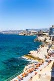 Marsiglia, Francia Area di riposo sulla spiaggia Fotografie Stock