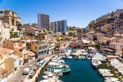 Marsiglia, Francia Porto di pesca del DES Auffes di Vallon Fotografia Stock Libera da Diritti