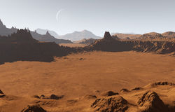Marsinvånarelandskap med krater och månen Arkivfoton